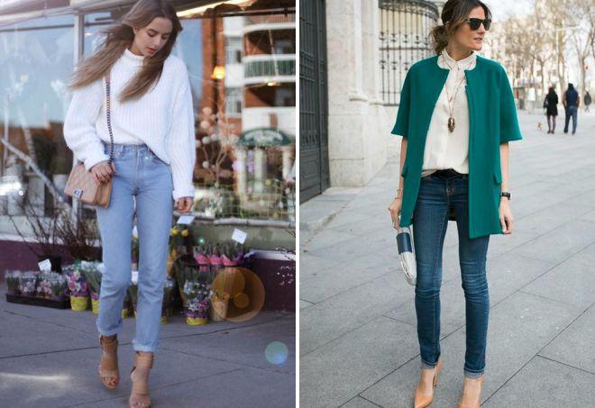 узкие джинсы с подворотом