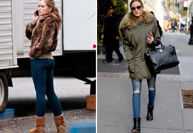 какую обувь носить с узкими джинсами зимой