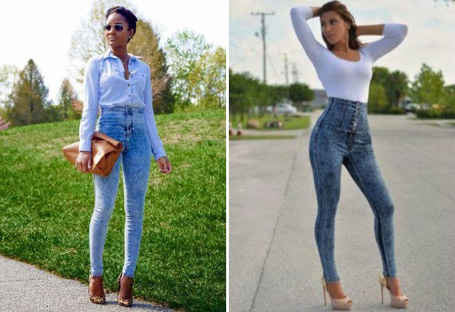 узкие джинсы с завышенной талией