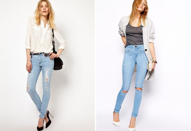 узкие рваные джинсы