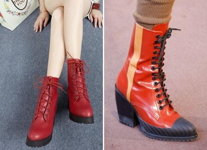 6be2947e Красные ботинки – на шнуровке, каблуке, платформе, тракторной ...