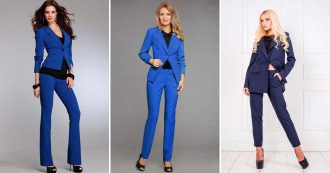 993a32aea102cc Модный женский синий костюм – с юбкой, шортами, брюками ...