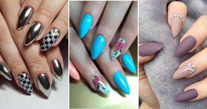 Острые ногти дизайн 25 – идеи, французский, матовый ...