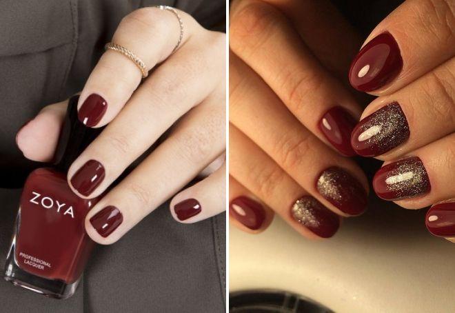 вишневый маникюр на коротких ногтях
