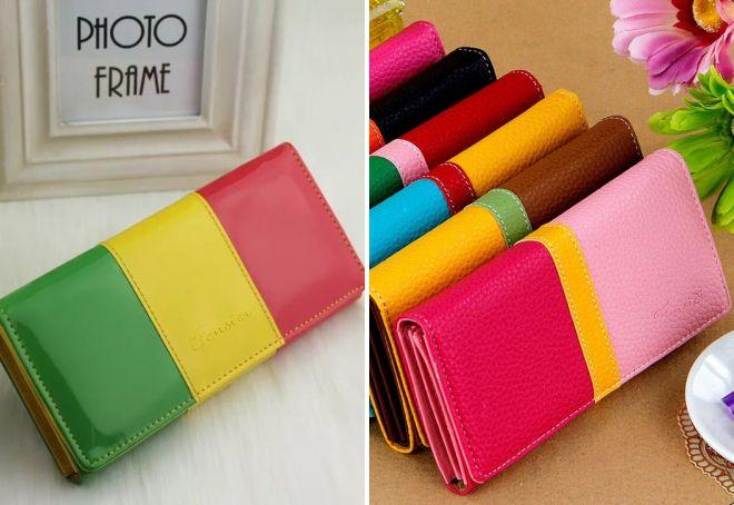 женские кожаные разноцветные кошельки