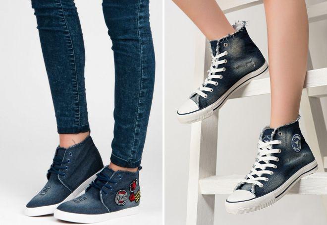 женские высокие джинсовые кеды