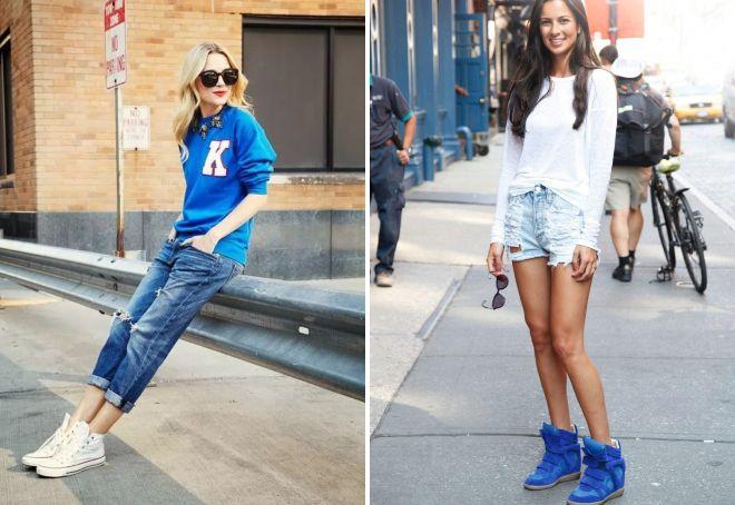 высокие кеды с джинсами