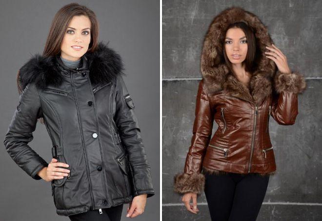 зимние кожаные куртки с капюшоном