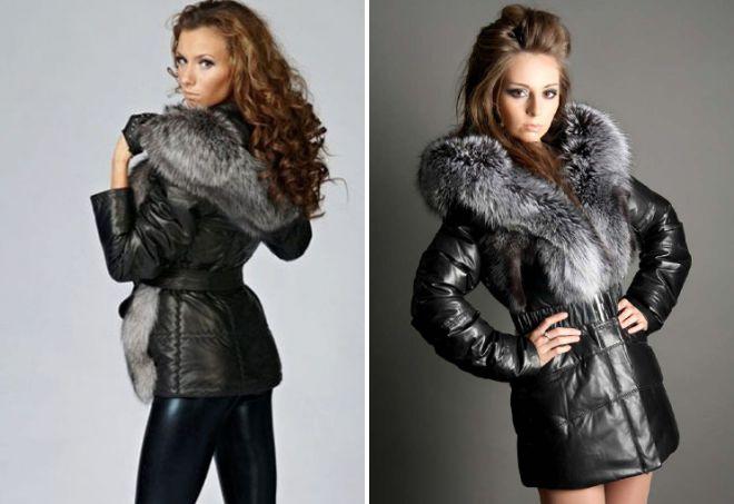 женская утепленная кожаная куртка с капюшоном