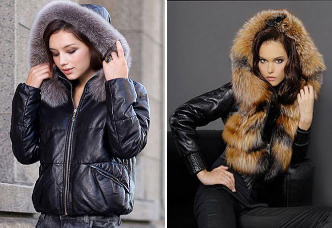 зимние куртки из кожи с капюшоном