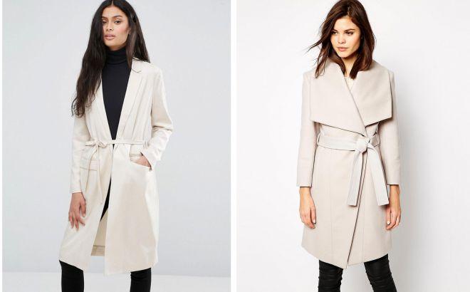 легкое пальто с запахом