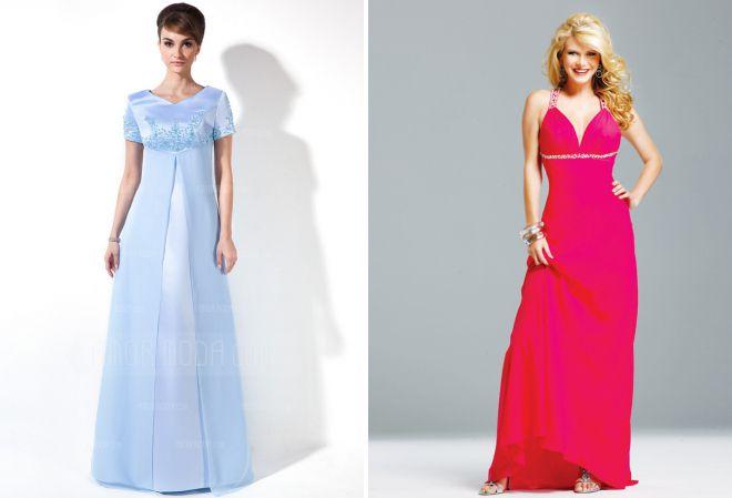 длинные вечерние платья с завышенной талией