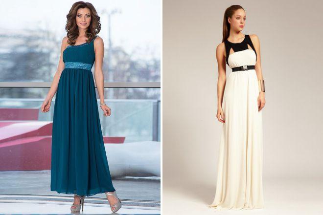 длинное платье с завышенной талией