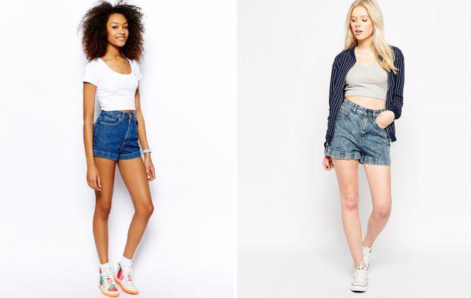джинсовые женские шорты с завышенной талией
