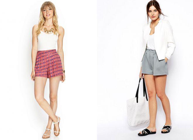 летние шорты с завышенной талией