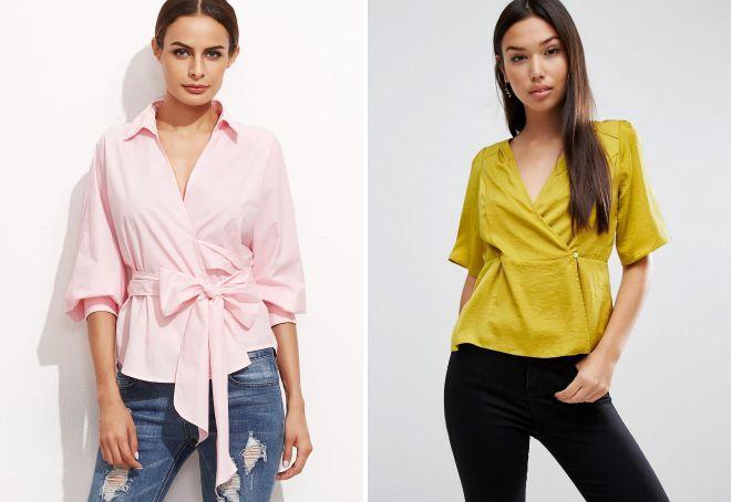 женские стильные блузки с коротким рукавом