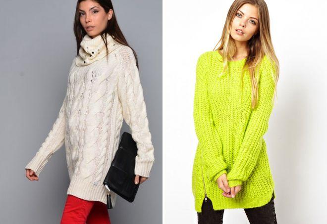 длинный свитер крупной вязки