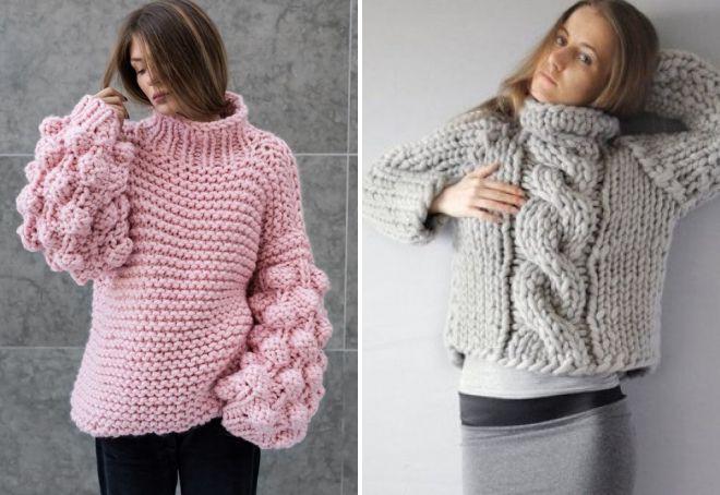 свитер очень крупной вязки