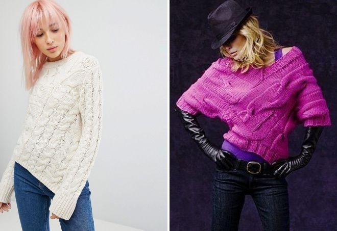 асимметричный свитер крупной вязки