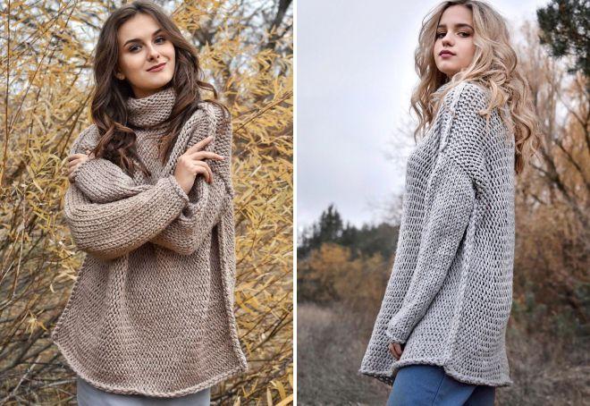 свитер крупной вязки со швами наружу