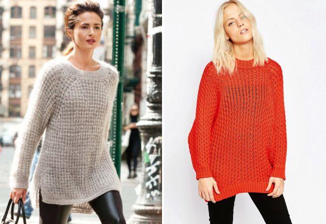 свитер реглан крупной вязки