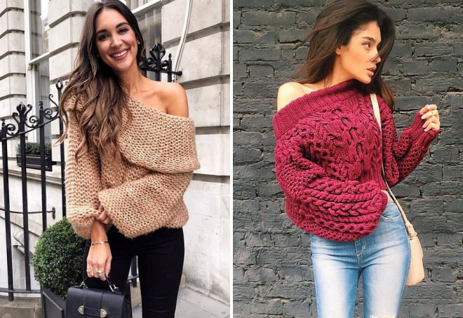 свитер крупной вязки на одно плечо