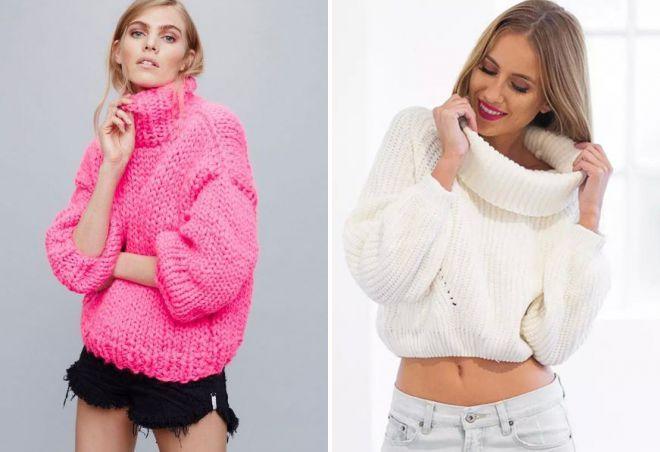 свитер с горлом крупной вязки