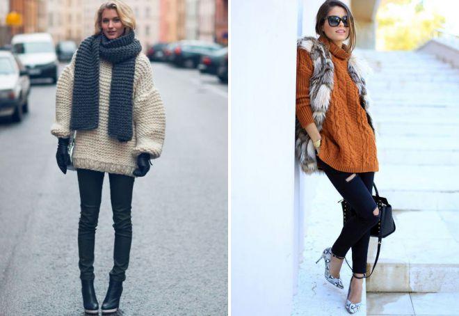 свитер крупной вязки модные образы