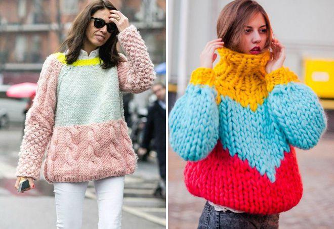 свободный свитер крупной вязки