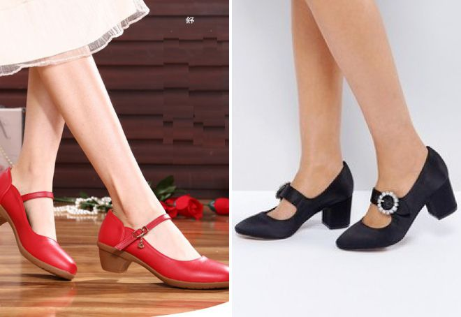 туфли мэри джейн на низком каблуке