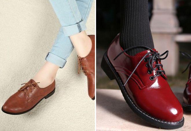 туфли со шнурками на низком каблуке