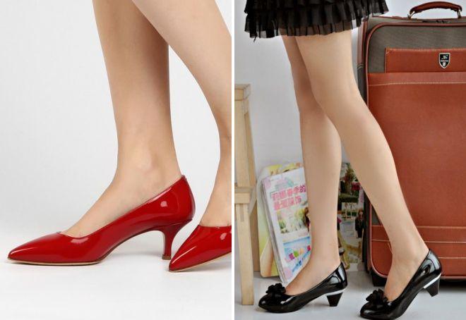 лаковые туфли на маленьком каблуке
