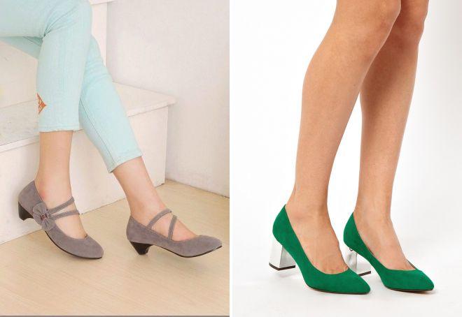 замшевые туфли на низком каблуке