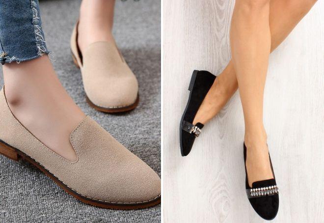 закрытые туфли на низком каблуке