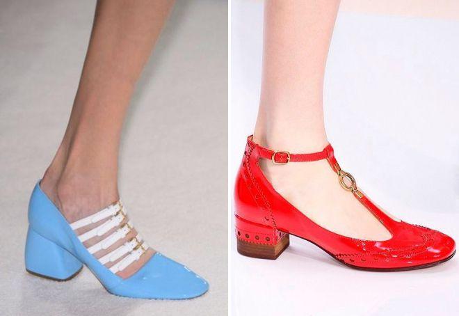туфли на низком каблуке с ремешком