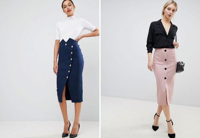 f571da2e209 Модная женская юбка-карандаш с завышенной талией – стильная длинная ...