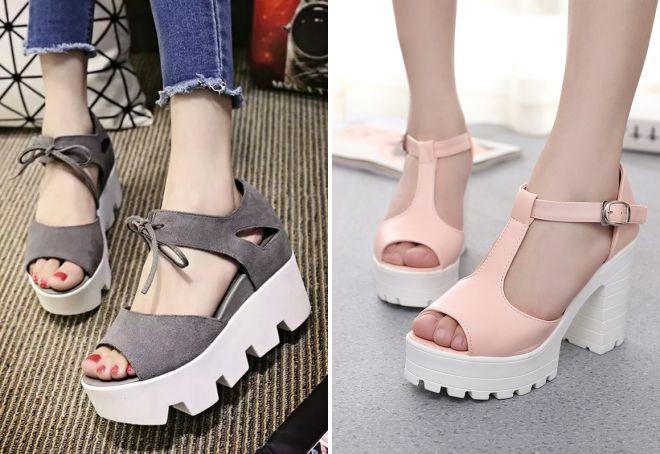 Chaussures d'été pour femmes 2018 à semelles de tracteur