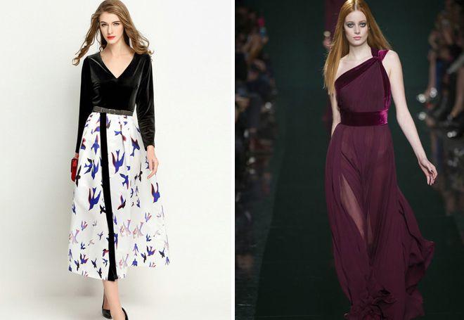 Комбинированные платья из бархата