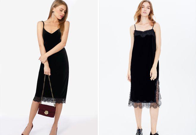 Бархатное платье-комбинация с кружевом