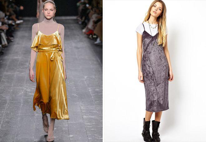 Бархатное платье-комбинация поверх одежды