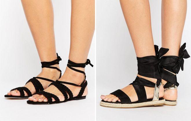 черные босоножки без каблука