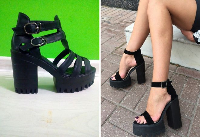 черные босоножки на толстом каблуке