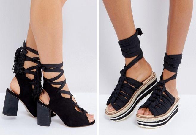 черные босоножки на шнуровке