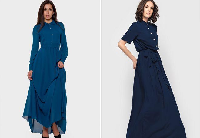 Длинное платье-рубашка