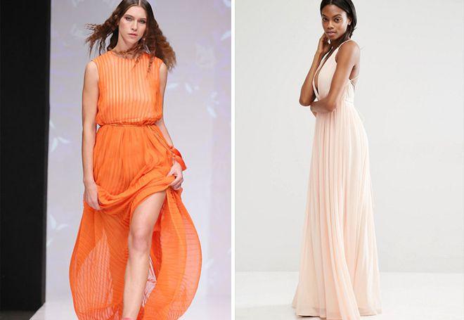 Плиссированное платье макси