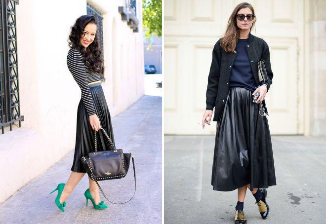 кожаные плиссированные юбки