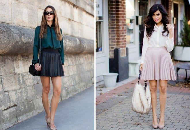 с чем носить короткую плиссированную юбку