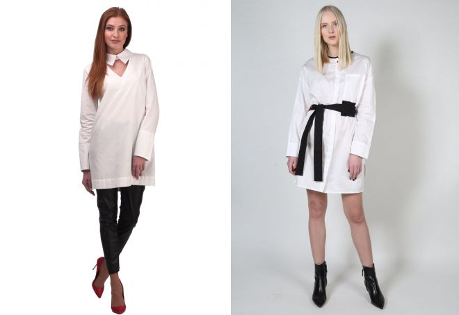 белая женская рубашка туника