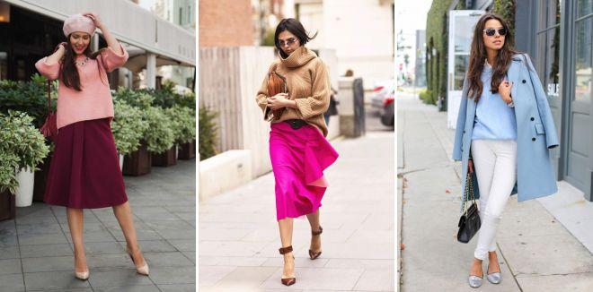 модное сочетание цветов в одежде 2018