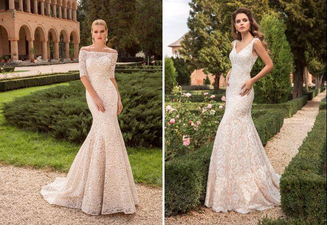 облегающее свадебное платье с кружевом